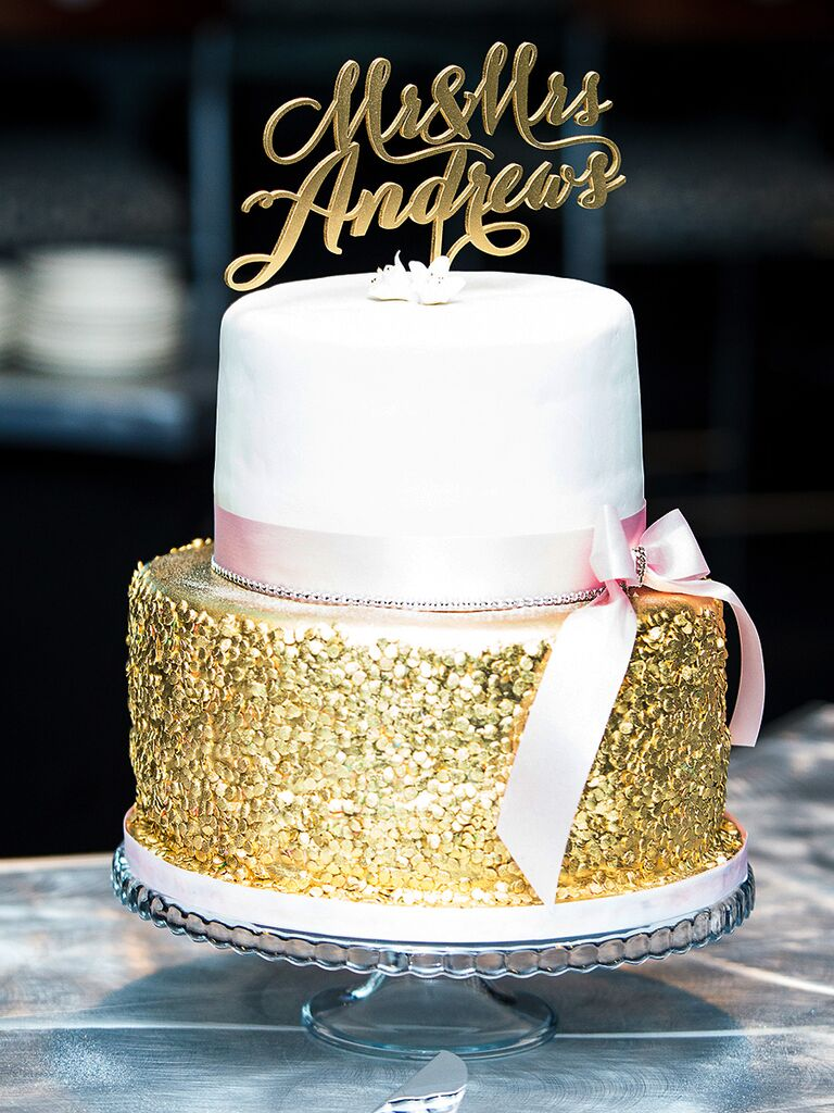 Small White And Gold Wedding Cake