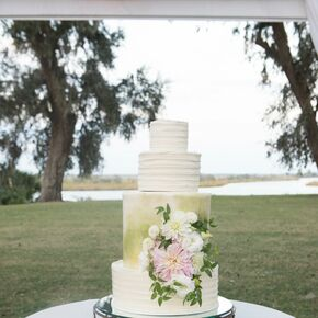 Painted Green Garden Inspired Wedding Cake