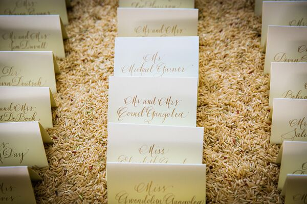 Ivory Escort Card, Gold Text
