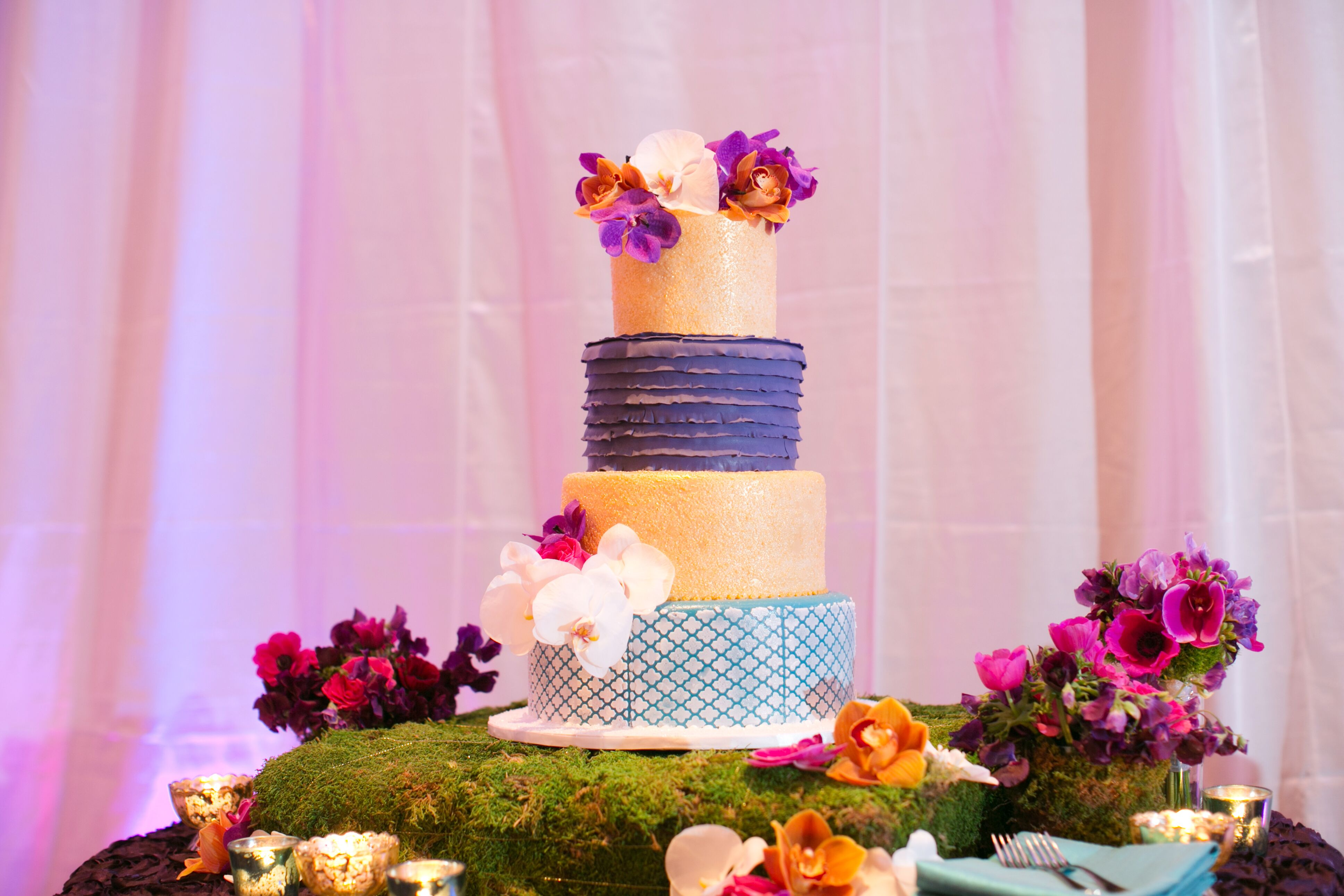 Whimsical, Eclectic Purple, Turquoise and Gold Wedding Cake