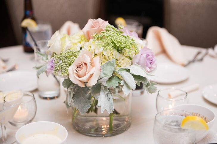 Pastel rose and dusty miller centerpieces