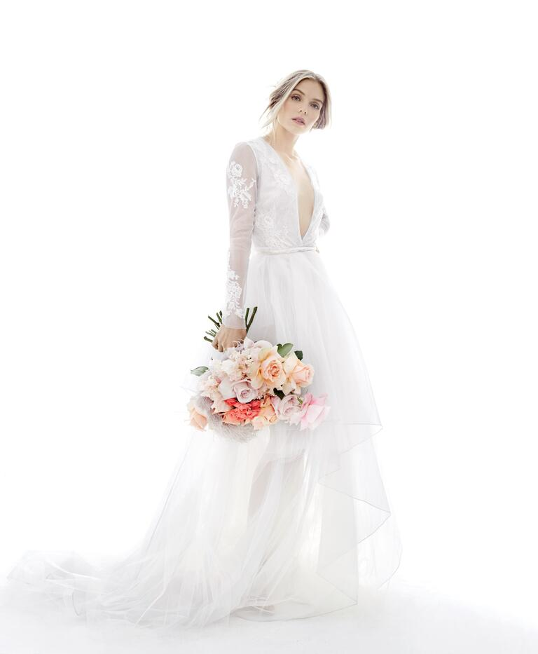 Dove-gray Rivini wedding dress