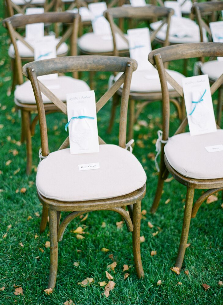 Wood Cross-Back Chairs with Ribbon-Wrapped Programs
