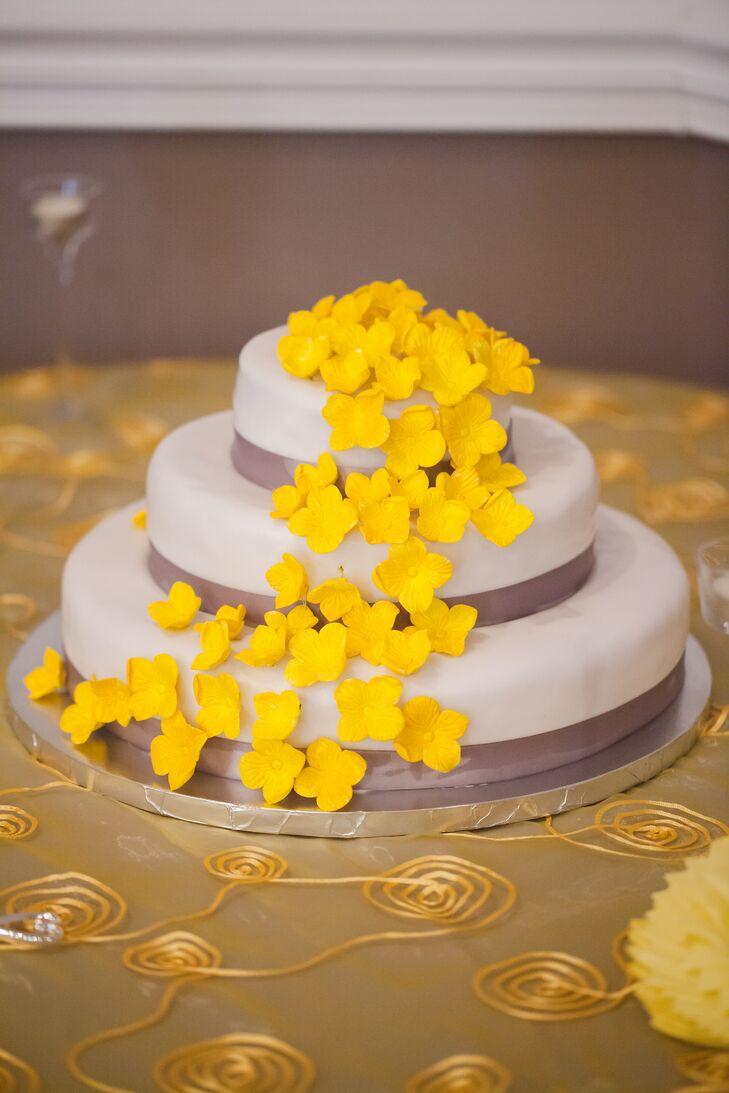 Yellow, Gray and White Wedding Cake