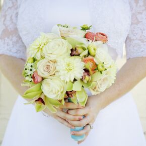 Light Green Bridal Bouquet With C Ranunculuses