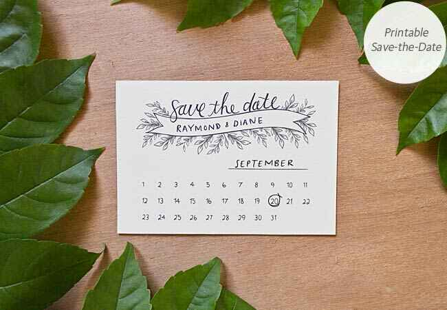 DIY save-the-date wedding printable:  Bells & Whistles Stationery Design / TheKnot.com