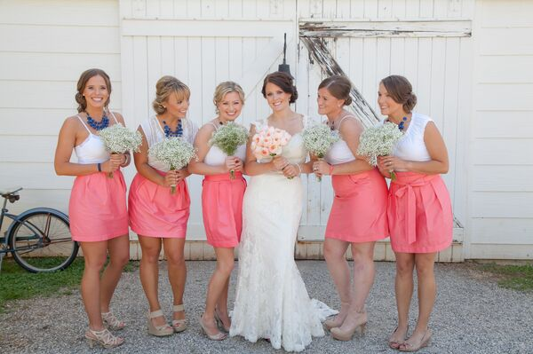 Preppy Pink and White Bridesmaid Outfits