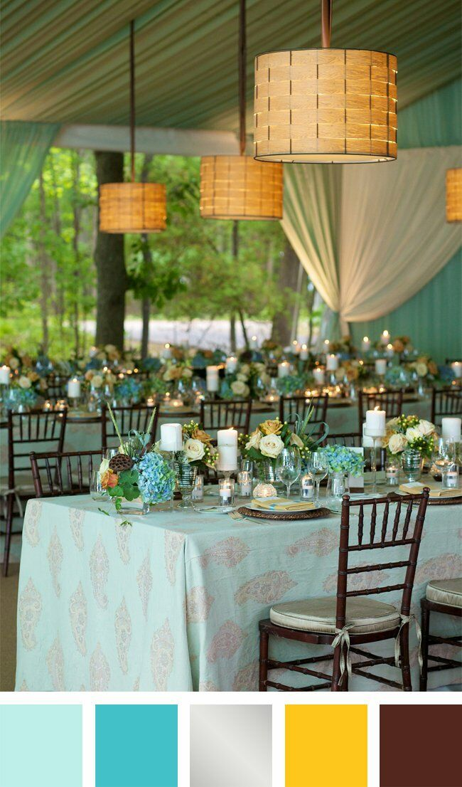 Light Blue, Teal, Silver, Yellow and Brown Color Palette