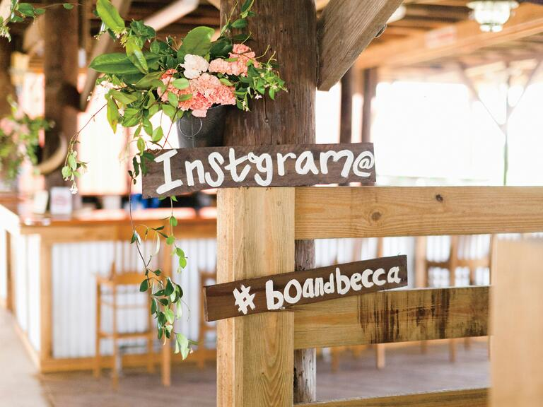 Rustic Instagram hashtag wedding sign