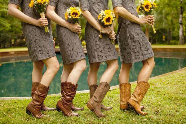 Sunflower Yellow Lace Bridesmaids Dresses
