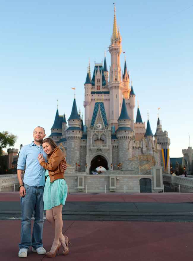 Cinderella's Castle at Disney World's Engagement Photo| Visual Appeal Studio | From: Blog.theknot.com