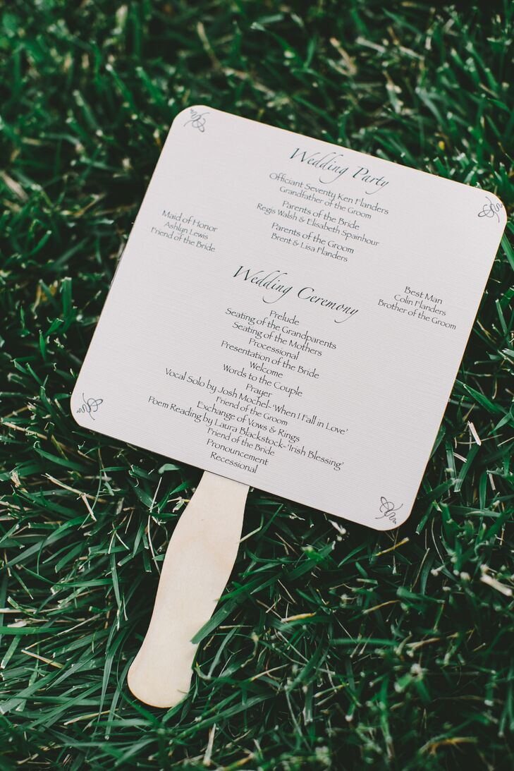 Meghan and Camron wanted their wedding to be natural and simple—a reflection of themselves. The ceremony programs were printed on classic taupe paper and turned into fans for guests to use during the summer wedding.