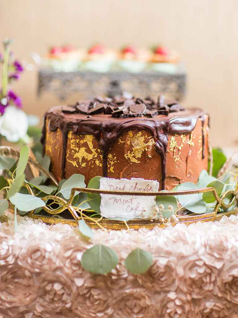 Round chocolate mint cake for a glamorous wedding