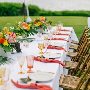 Elegant, Colorful Tropical Centerpieces