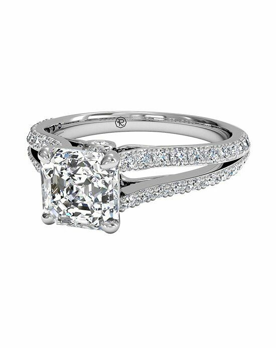 Ritani Radiant Cut Double French-Set Diamond 'V' Engagement Ring with Surprise Diamonds in Platinum (0.24 CTW) Engagement Ring photo