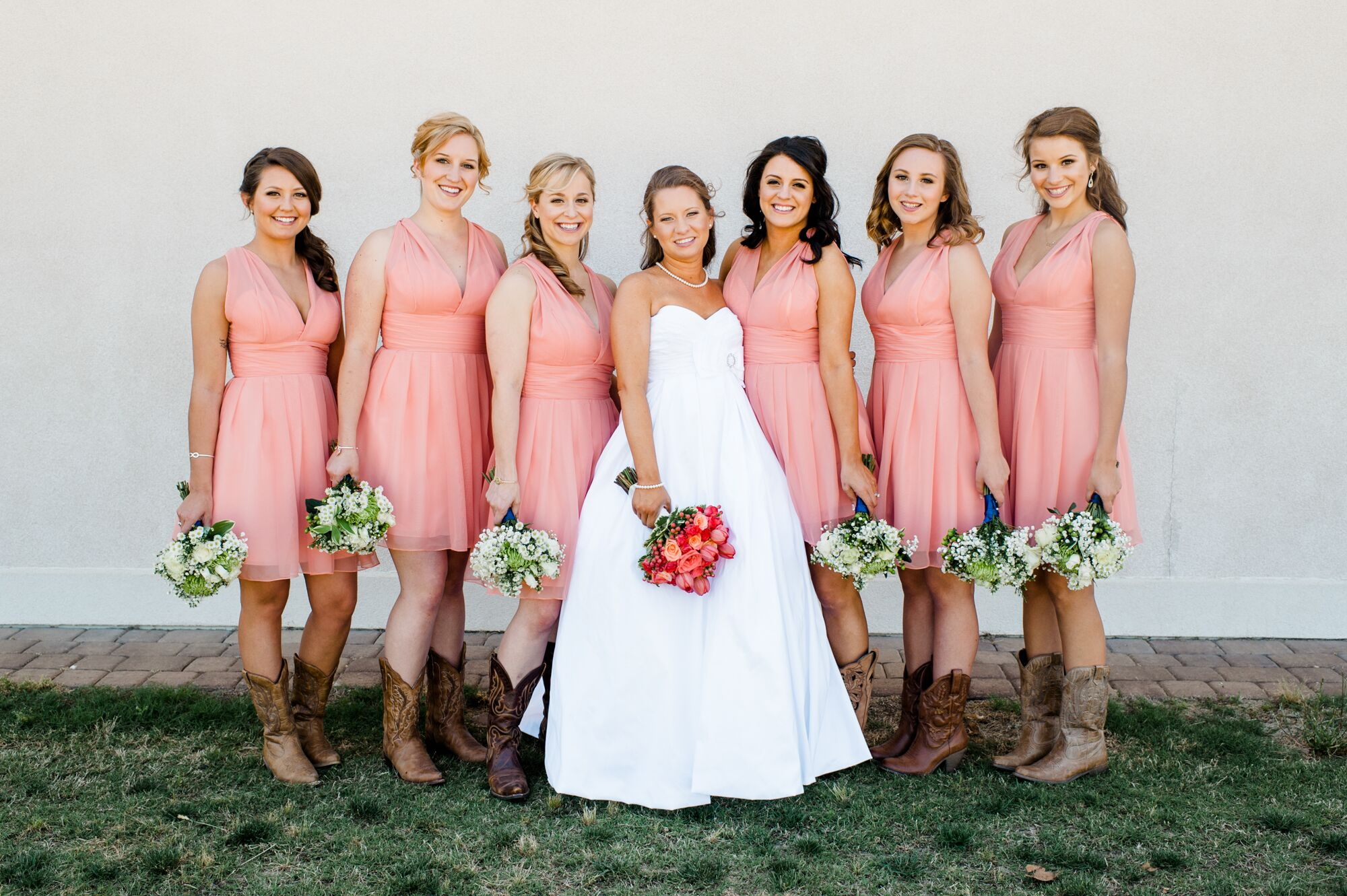 Coral Bridesmaid Dresses With Brown Cowboy Boots