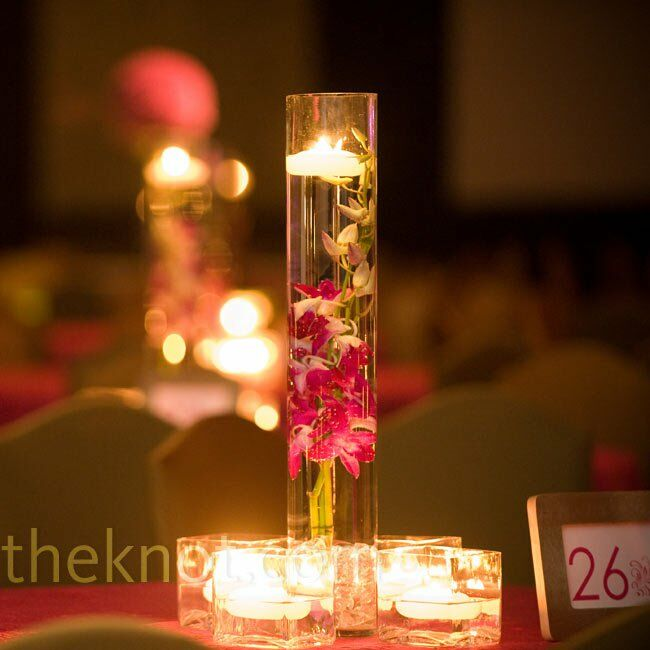 Pink orchid centerpieces