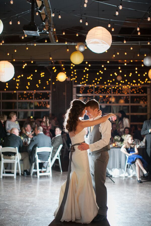 First Kiss Under String Lights and Paper Lanterns