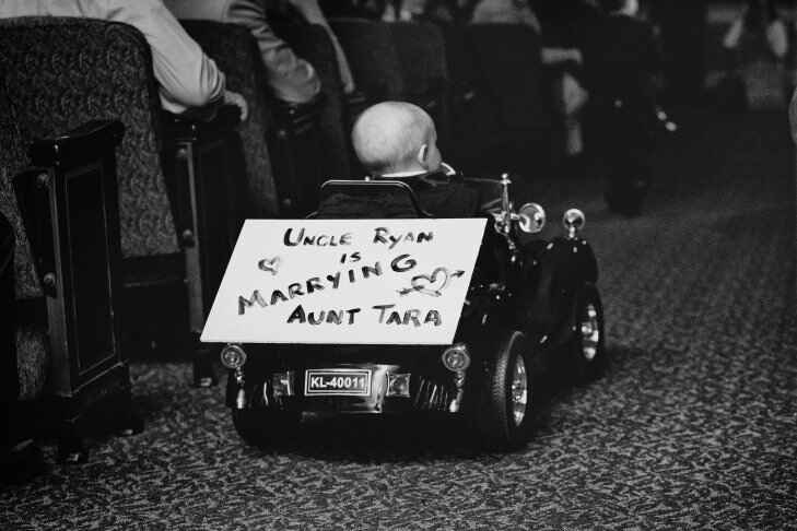 Ring bearer in a battery operated car