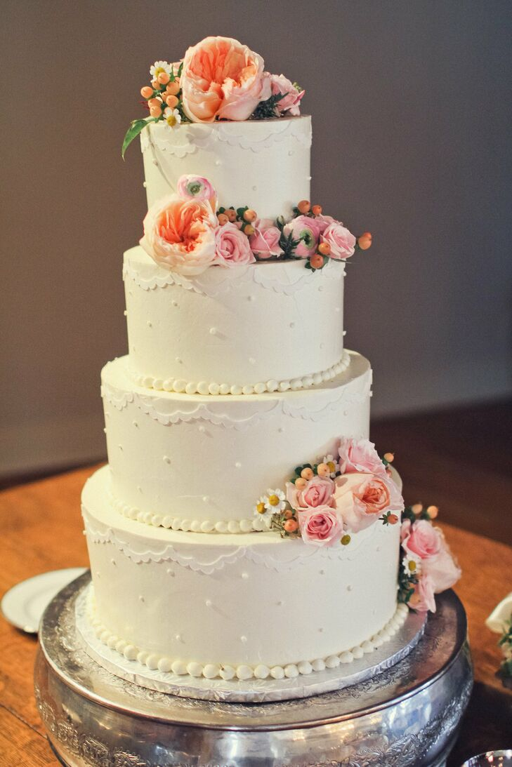 Elegant Peach and White Wedding Cake