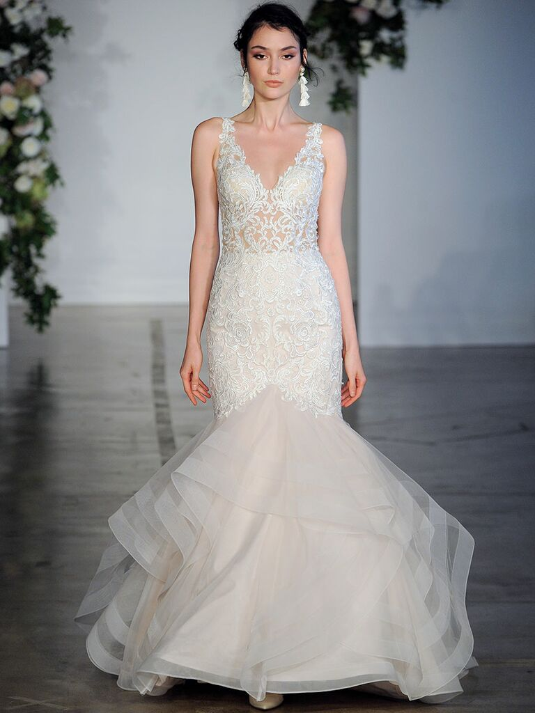 Sexy wedding dresses that rocked the runways watch lace mermaid wedding dress with sheer bodice junglespirit Choice Image