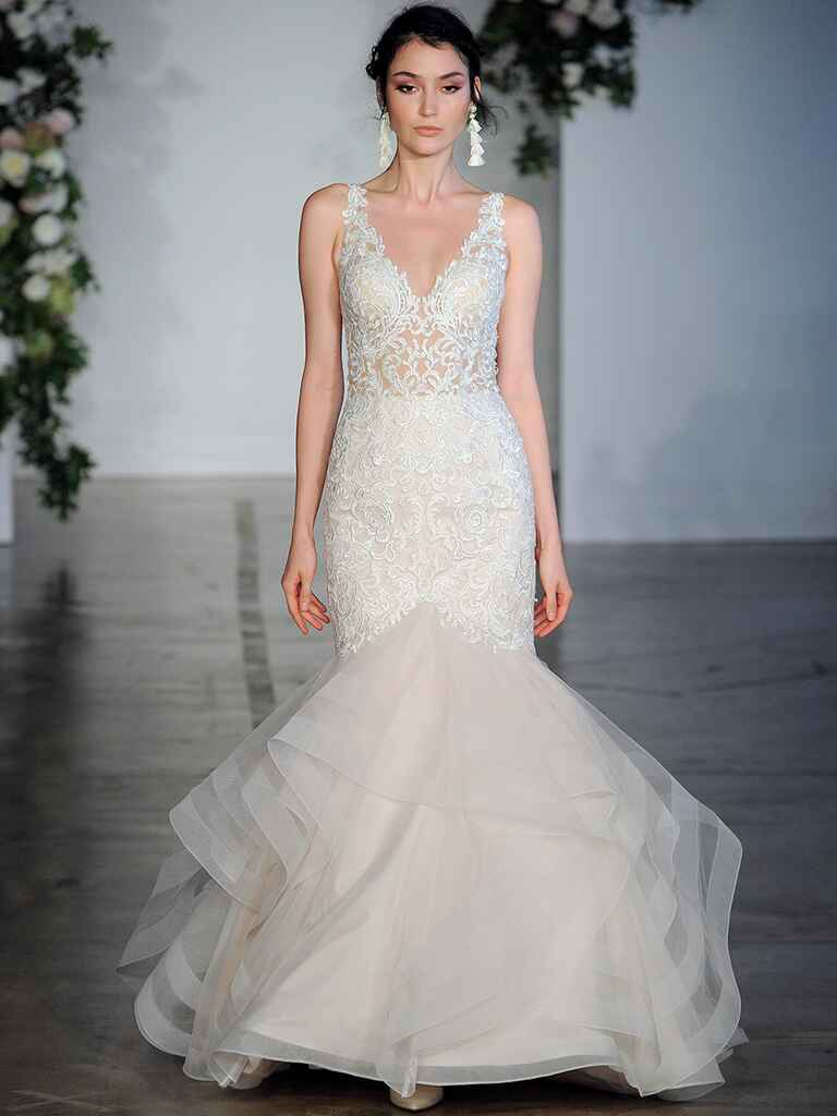 Sexy wedding dresses that rocked the runways watch lace mermaid wedding dress with sheer bodice ombrellifo Image collections