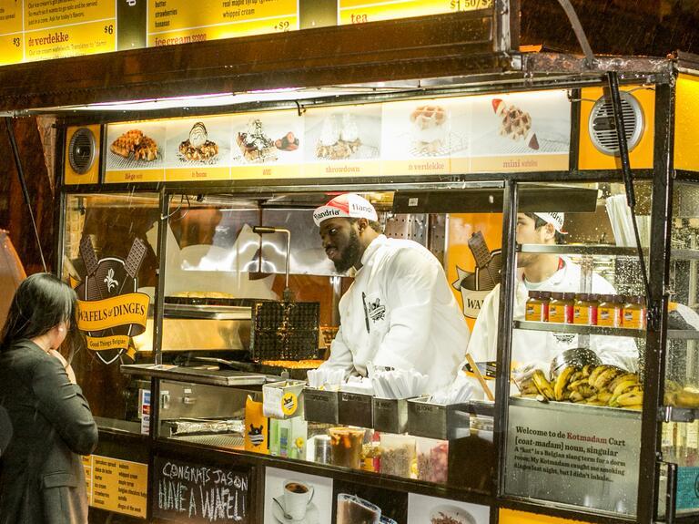 Wedding reception food truck waffles