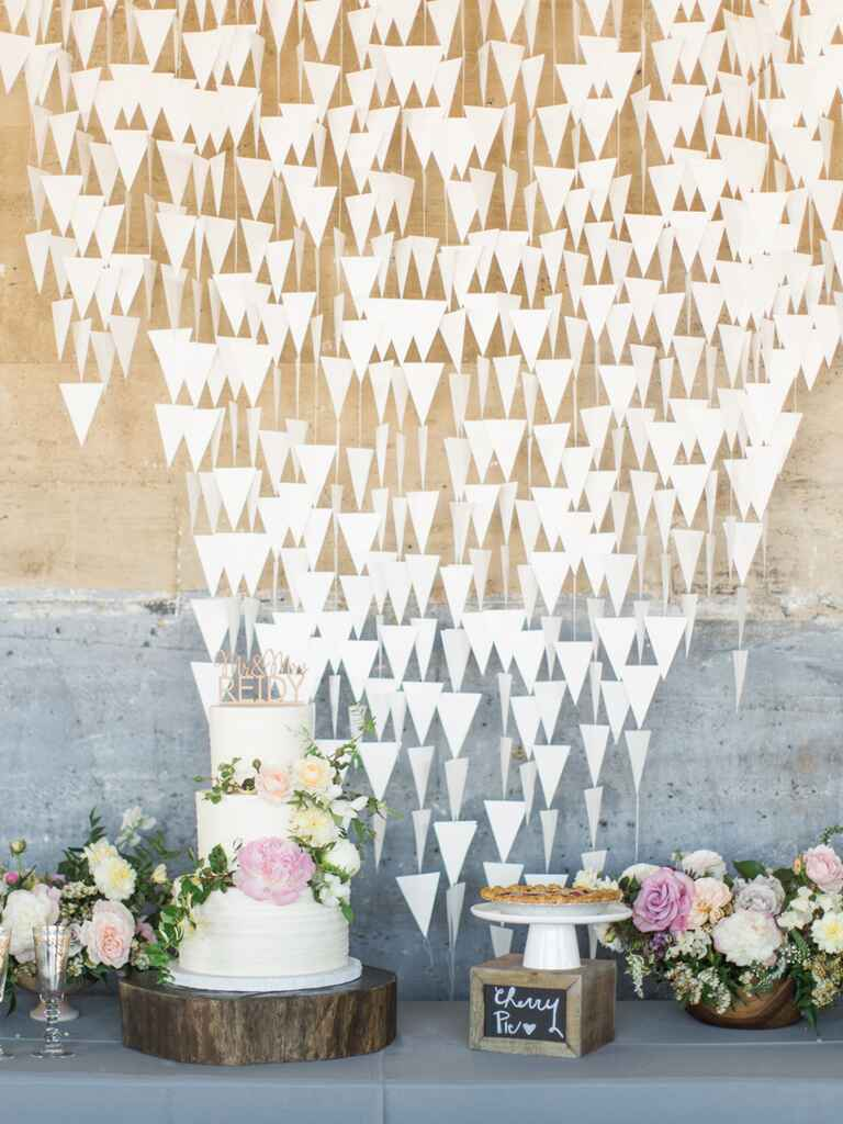 Modern dessert table backdrop of paper triangles