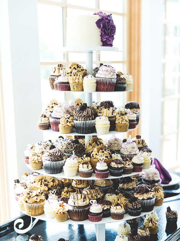 16 wedding cake ideas with cupcakes small wedding cake with small medium and large cupcakes junglespirit Images