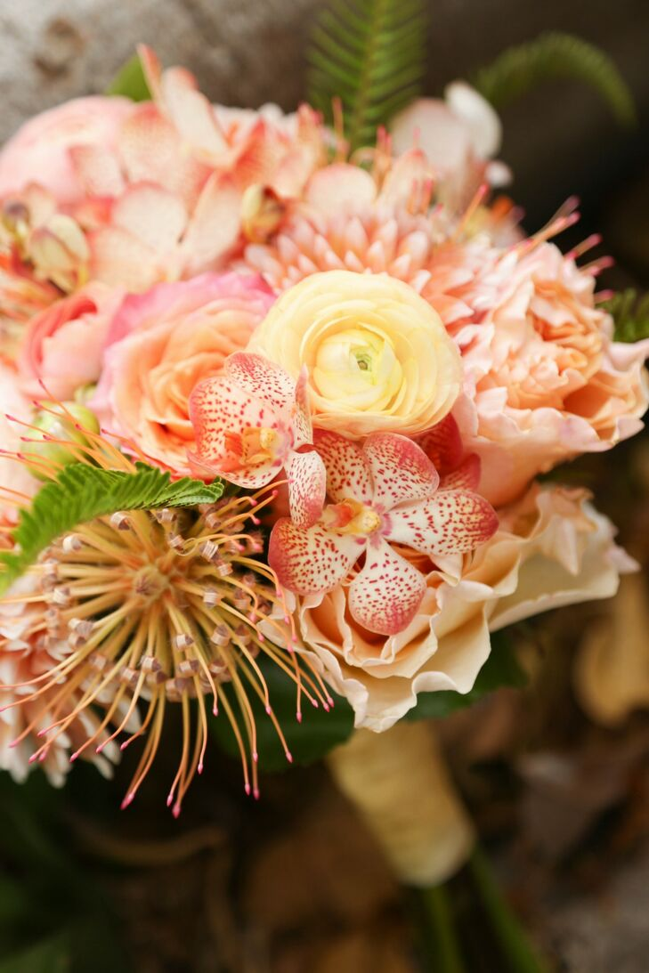 Coral and Yellow Tropical Flower Bouquet