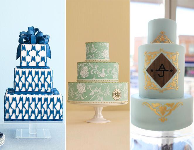 Monogrammed wedding cake trend