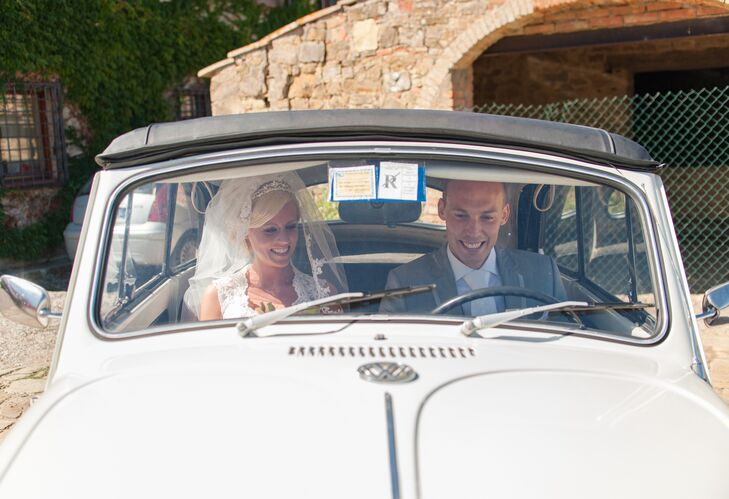 Bride and Groom in White Car