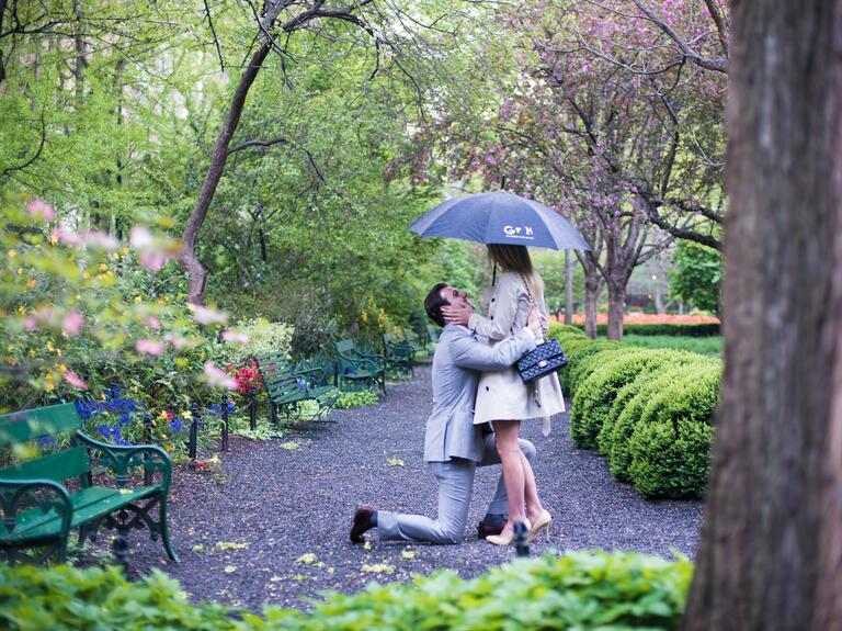 Marriage proposal in New York City park during the spring