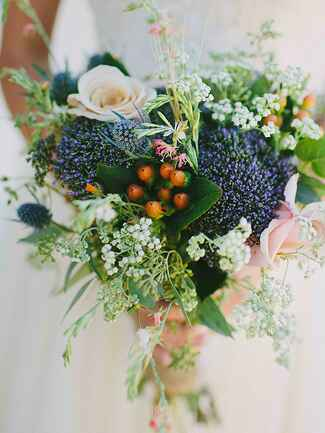 Wildflower Dahlia bud and baby's breath wedding  bouquet