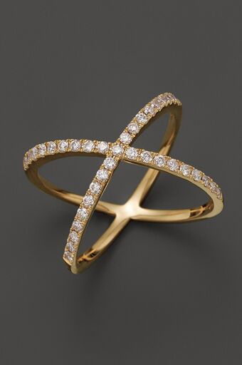 Gold And Diamond X Shape Wedding Band For Her