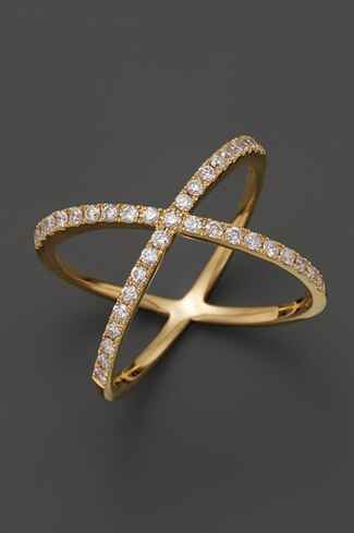 gold and diamond x shape wedding band for her - Unique Wedding Rings For Her