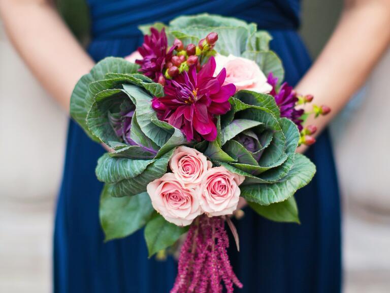 Bridesmaid bouquet with kale