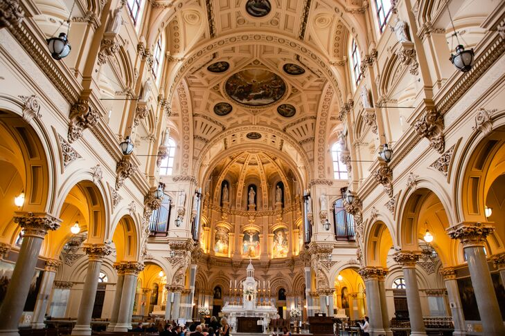 Victoria and Matthew said 'I do' during a Catholic ceremony at the Church of St. Francis Xavier in New York City.