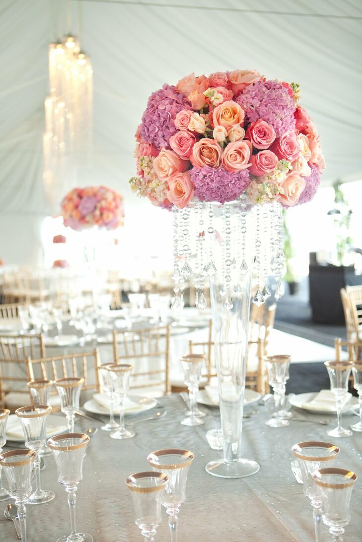 Pink and Purple Reception Centerpieces