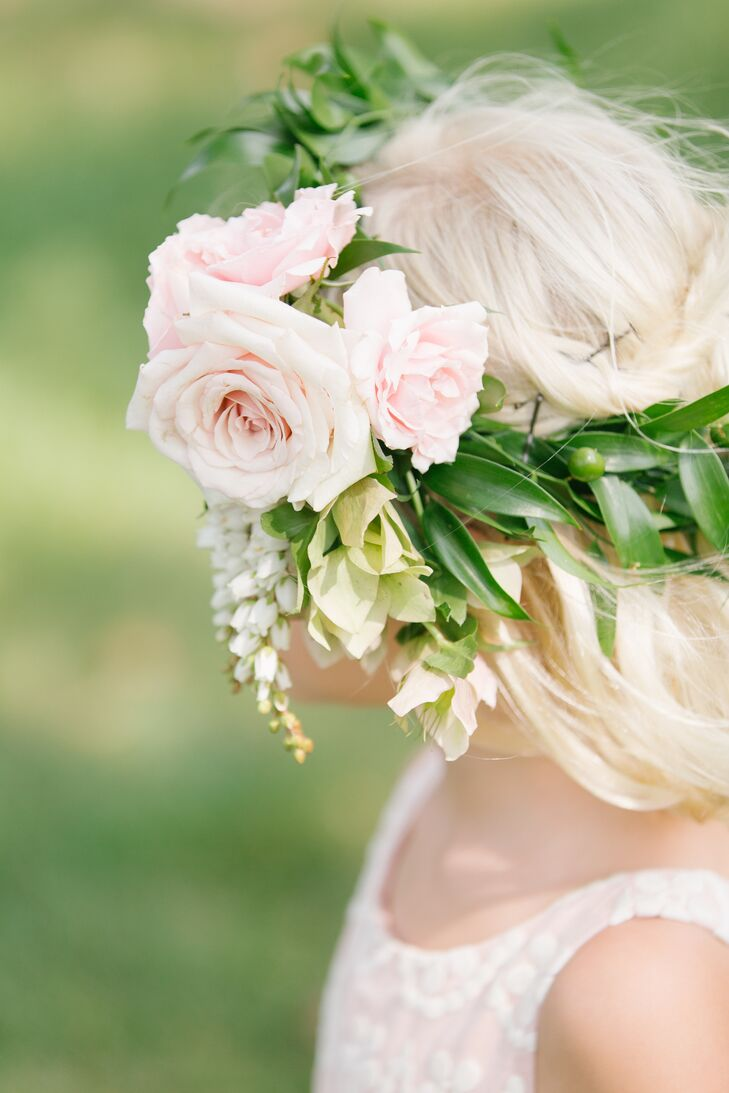 Pink rose white lily of the valley flower crown izmirmasajfo