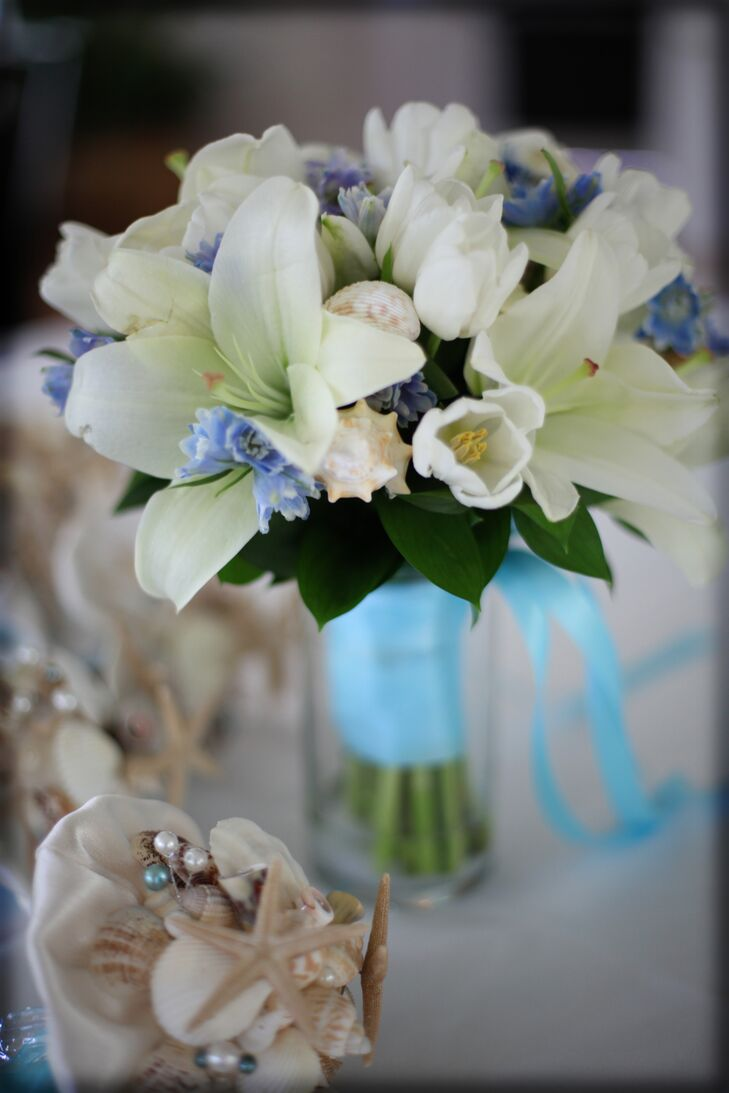 White Lily And Tulip Bouquet With Seashells
