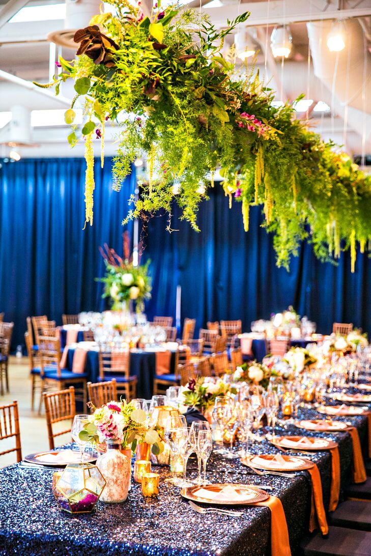 Suspended Greenery Over Reception Head Table with Sequin Linens