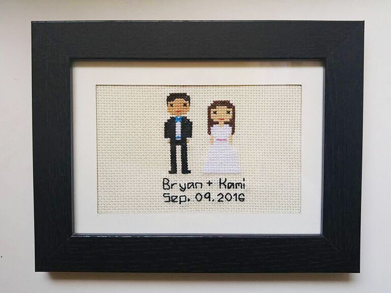 Cross Stich Portrait Engagement Gift Ideas