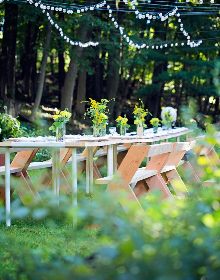 Each of the outdoor tables was made from lauan hollow core doors complete with white legs from IKEA.