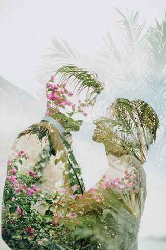 Double-exposed wedding photos