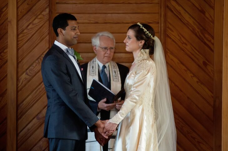 """My siblings each read a text from The Qur'an, the Bhagavad Gita, and a poem by Khalil Gibran.  We said our vows in both Hebrew and English, and Chris successful stomped on the ceremonial glass,"" Nellie says of their eclectic, interfaith ceremony."