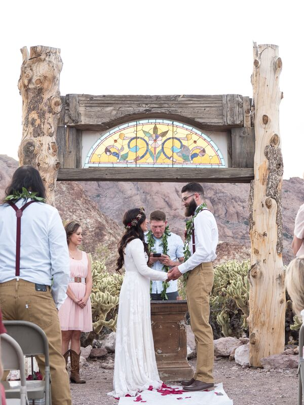 Tree Trunk and Stained-Glass Wedding Arch
