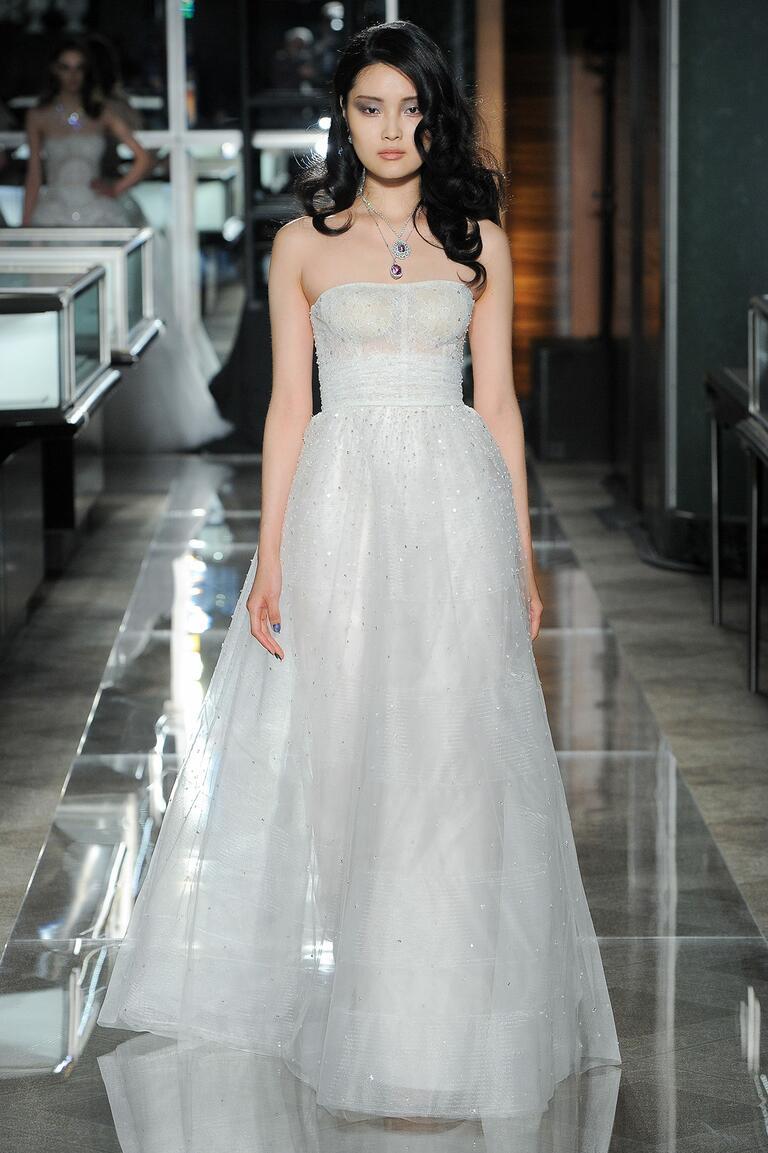 Reem Acra Spring 2018 strapless wedding dress with jewels