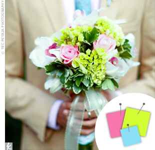 Green, pink and blue bouquet