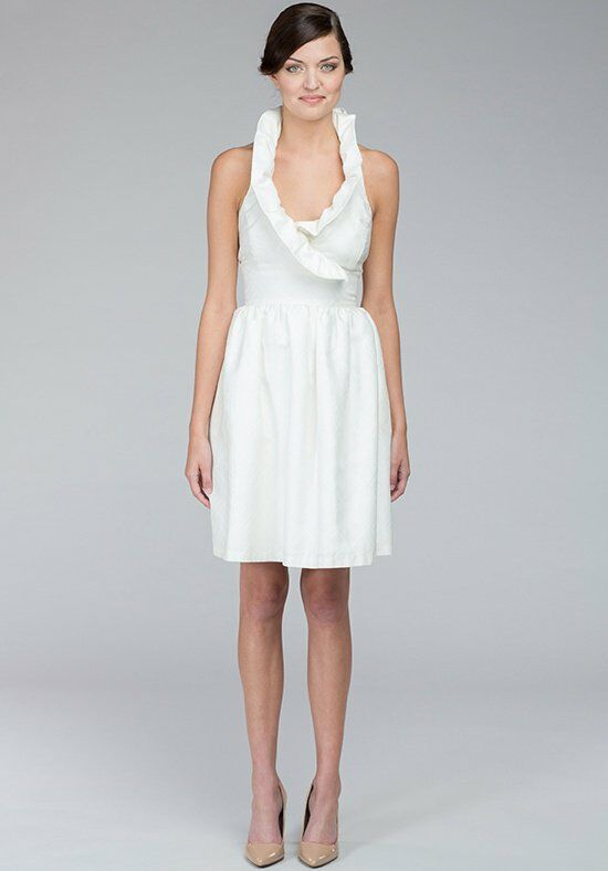 Kate McDonald Little White Dress Diamond Jacquard Halter Wedding Dress photo